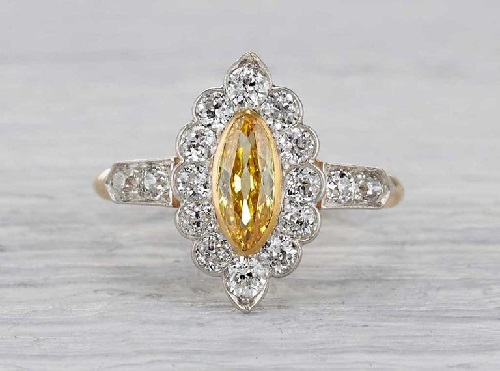yellow diamond rings antique